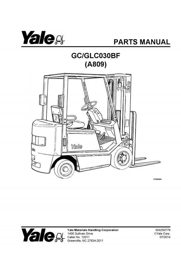 Yale A809D5 Parts Catalog (Parts Book)